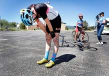 Dan McGraw, of Team HTX Velo from Houston, feels the pain after winning the Race Across the West four-person team contest Thursday at Fort Lewis College. The team won the 950-mile race that began in Oceanside, Calif. They finished with a time of 2 days and 3 hours.
