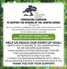 The Juniper School, a new charter elementary school, will open in August above Big Picture High School, 215 E. 12th St. Fundraising events are planned for later in the year to cover additional opening costs.