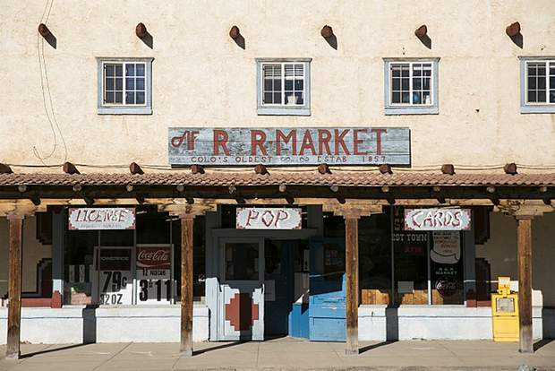 The R&R Market on Main Street in San Luis, Colorado, has been open since 1857. The current building, seen here, has stood since the late 1940s.