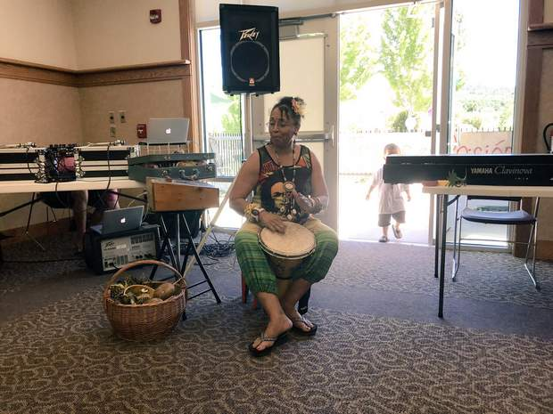 Artist and educator Brenda Hollingsworth-Marley performs a song on Sunday during Durango's first Juneteenth celebration at the Durango Community Recreation Center.