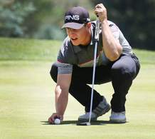 Calum Hill lines up his putt on Saturday during the second round of the Navajo Trial Open at Hillcrest Golf Club.