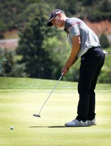Calum Hill watches his putt on Saturday during the second round of the Navajo Trial Open at Hillcrest Golf Club.
