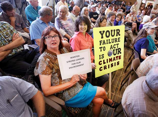 Donna Graves, left, and Lynne Bruzzese were among the packed house at a town hall meeting Friday in Durango featuring Colorado Gov. John Hickenlooper, Rep. Scott Tipton and U.S. Sens. Michael Bennet and Cory Gardner. The town hall, which covered a wide range of issues, was held after the officials toured the Gold King Mine site with Scott Pruitt, head of the Environmental Protection Agency.