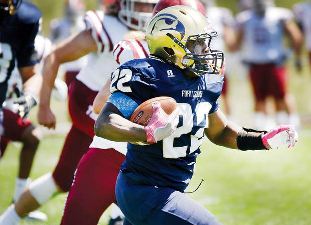 Fort Lewis running back PJ Hall looks for open field against Chadron State College on Saturday at Dennison Memorial Field. Hall finished the day with 88 rushing yards in the 25-19 loss to the Eagles.